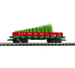 PIKO #38777  Flat Car w Stakes - Central Park Christmas Tree Transport