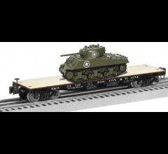 Lionel #1926702 Boston & Maine 40' Flatcar with Sherman Tank #33745