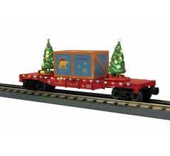 MTH 30-76825 North Pole Flat Car w/Lighted Christmas Trees - (Maroon/Blue Crate Crate