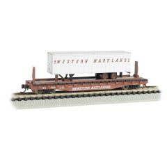 Bachmann #16756 Western Maryland 52ft flat car w/ WM 35ft Trailer