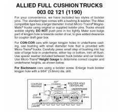 Micro Trains #00302121 Allied Full Cushion Trucks w/short ext.couplers 1 pr