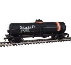 Walthers #931-1444 Tank Car Santa Fe (black w/orange and white stripes)#98016
