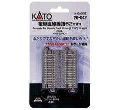 "Kato #20-042 62mm (2 7/16"") Concrete Tie Double Track Straight [2 pcs]"