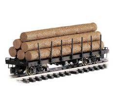 Bachmann #98470 Flat Car with Logs- Unlettered