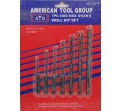 American Tool Group #11416 7 Piece HSS Hex Shank Drill Bit Set