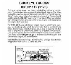 Micro Trains #00302112 Buckeye Trucks w/ med. ext. couplers 1 pr