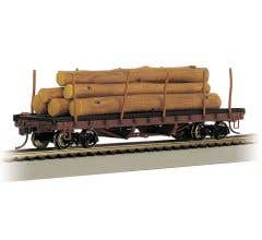 Bachmann #18849 ACF 40' Log Car with Painted Resin Logs 1935-1960 Version