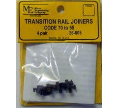 Micro Engineering #26-005 Rail Joiners, Transition Code 70 to 55 (4 pair)