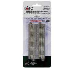 "Kato #20-023 124mm (4 7/8"") Concrete Tie Double Track Straight [2 pcs]"
