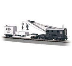 Bachmann #16102 250-Ton Steam Crane & Boom Tender-Santa Fe