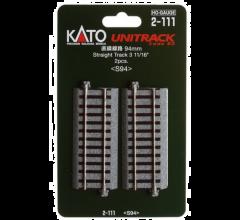"""Kato #2-111 94mm (3 11/16"""") Straight Track [2 pcs]"""