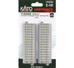 "Kato #2-141 123mm (4 7/8"") Concrete Tie Straight Track [4 pcs]"