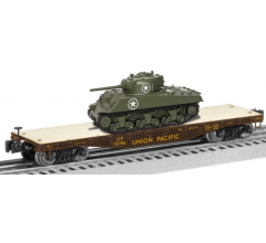 Lionel #1926742 Union Pacific 40' Flatcar with Sherman Tank #51196