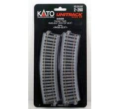 """Kato #2-260 430mm (16 7/8"""") Radius 22.5º Curve Track [4 pcs]"""