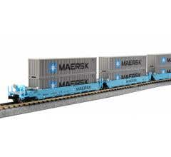 Kato #106-6199 N Gunderson MAXI-I Double Stack Car MAERSK - 5-Unit Well Car includes 10 x ONE MAERSK 40' Containers