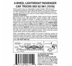Micro Trains #00302061 6-Wheel Passenger Car Trucks w/ adj. couplers 1pr