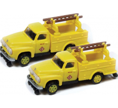 Classic Metal Works #50385 1954 Ford Hi-Rail Maintenance Truck- Erie-Lackawanna (2 Pack)