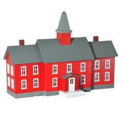 Model Power #783 Built-Up Buildings Lighted w/Two Figures- Little Red Schoolhouse