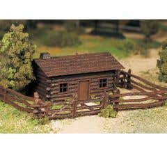 Log Cabin with Rustic Fence - Kit