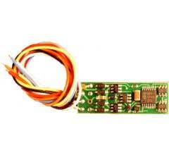 "NCE #5240131 (N14SR) N and HO Scale Narrow Generic Decoder, 1 Amp, 4 Function, 1.15 x 0.40"" x 0.11"", 3 wires N14SR"