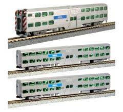 Kato #106-8703 Chicago METRA Gallery Bi-Level Commuter Train 3-Car Set