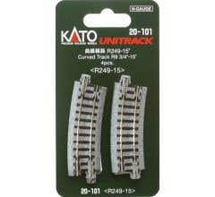 """Kato #20-101 249mm (9 3/4"""") Radius 15º Curve Track [4 pcs]"""