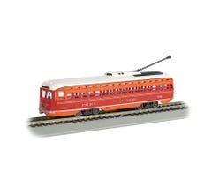 Bachmann #60502 Pacific Electric PCC Street Car with Sparking Trolley Pole (DCC Sound Value-Equipped)