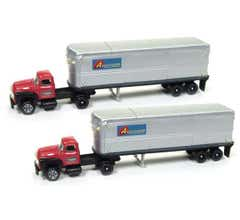 Classic Metal Works #51172 1954 Ford Tractor - AeroVan Trailer - Associated Truck Lines(2pcs)