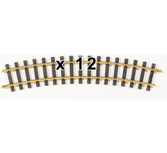 PIKO 35213C G-R3 Curved Track, R3, 920mm (36.28in) (12pcs)