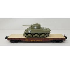 Lionel #1922014 Union Pacific 40' Flatcar w/ Sherman Tank #51124