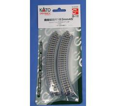 "Kato #20-172 Unitrack 183mm 7"" Radius 45 Degree Curved Track [4 pcs]"