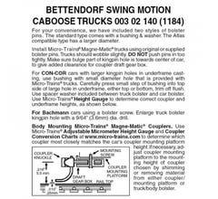 Micro Trains #00302140 Bettendorf Swing motion trucks no couplers. 1 pr.
