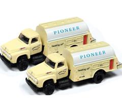 Classic Metal Works #50389 1954 Ford Hi-Rail Maintenance Truck- Pioneer Heating Co (2 Pack)